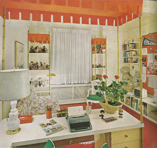 vintage home decorating 1970s kids room with orange canopies over the desk and shelves