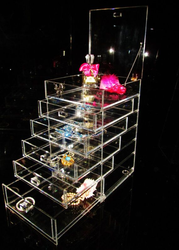 New Clear Lucite Acrylic Make up Chic Jewelry Organizer Storage
