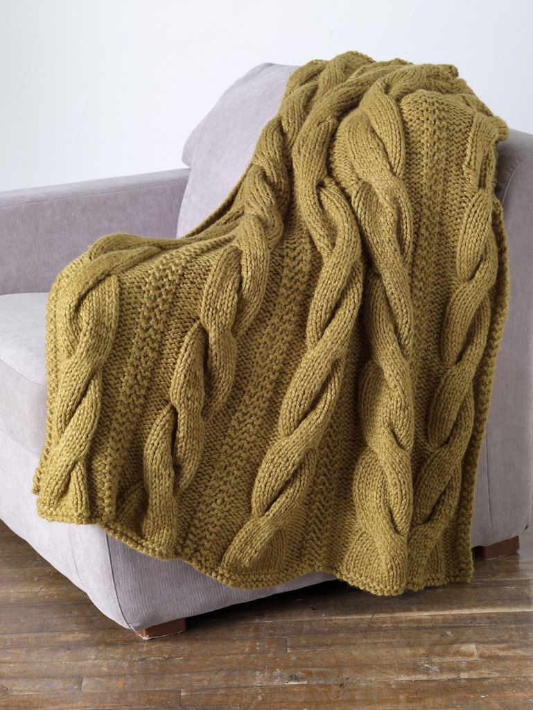 Classic Cable Throw in Lion Brand Wool-Ease Thick & Quick - 80882AD ...