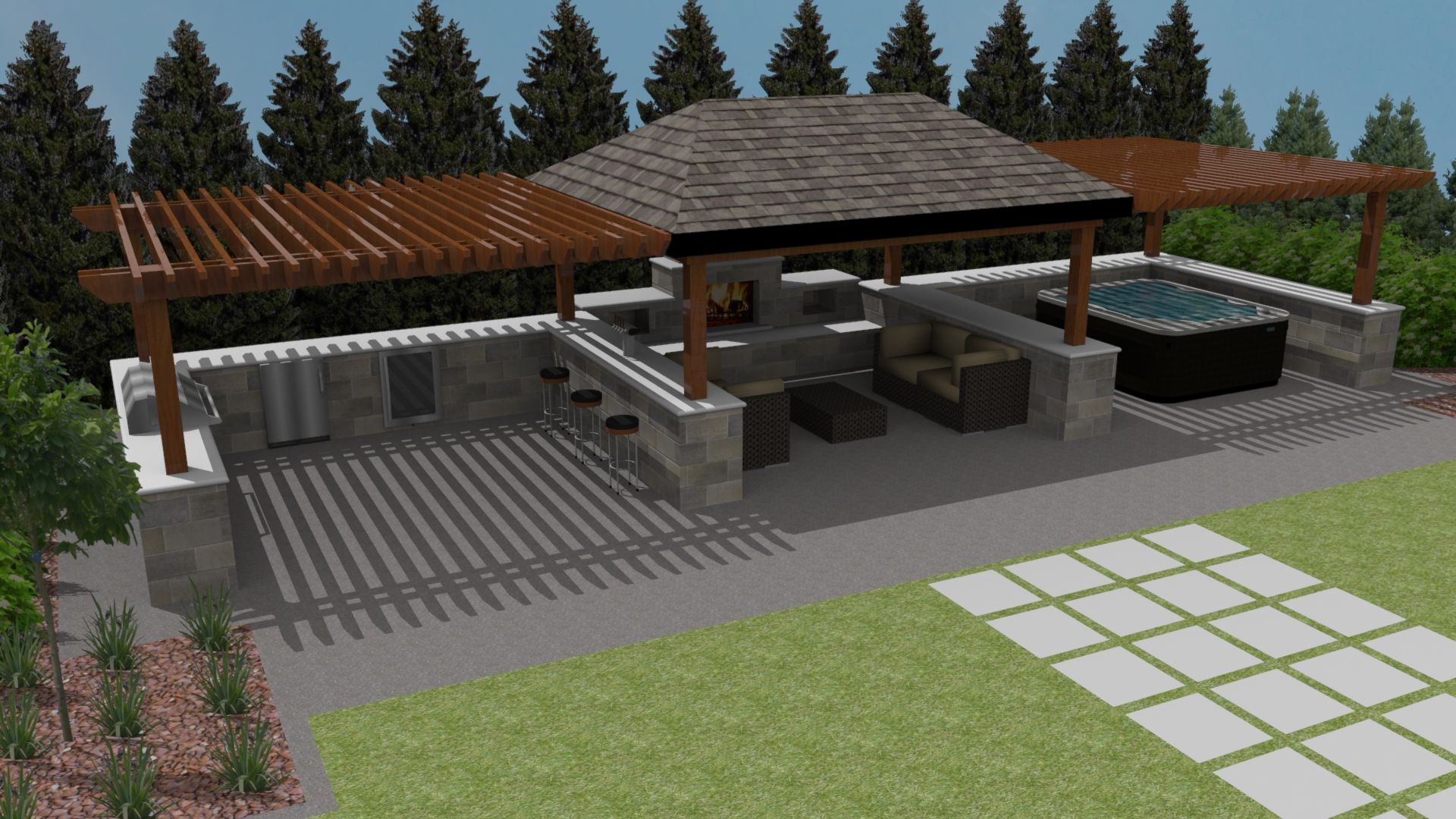 1 Acre Backyard Design Outdoor Furniture Design And Ideas Backyard Entertaining Area Backyard Entertaining Backyard Design