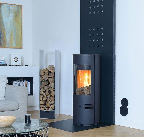 po le bois turbo fonte lena en acier noir appareil convection qui pivote 45 droite et. Black Bedroom Furniture Sets. Home Design Ideas