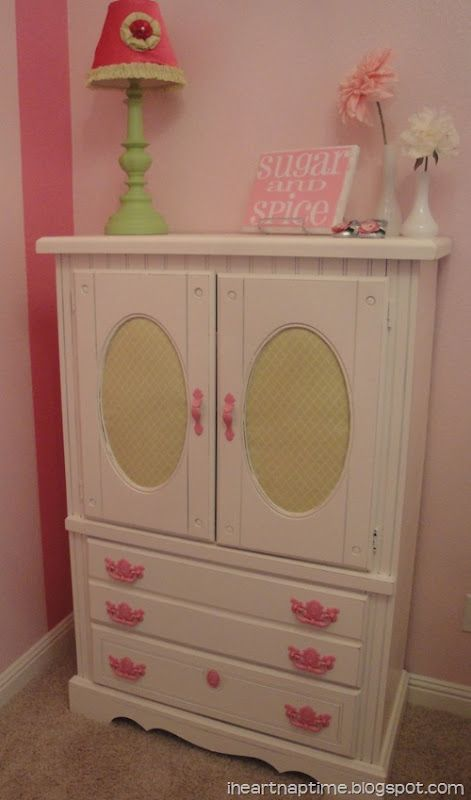 Refinished Armoire For Little Girls Room