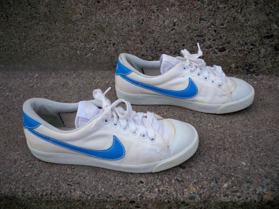 Vintage 1980's Nike Swoosh 820103 White Canvas & Blue Leather Swoosh Men's  Trainers Sneakers