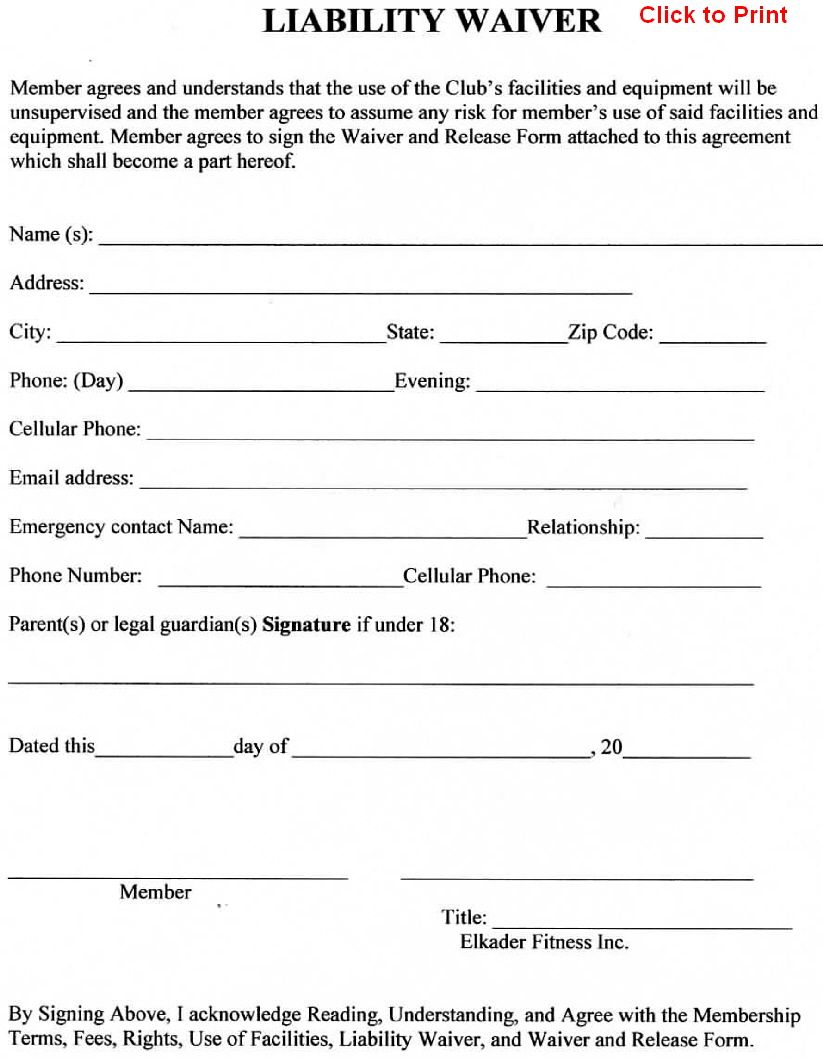Member Agreement liability waiver template – Liability Release Form