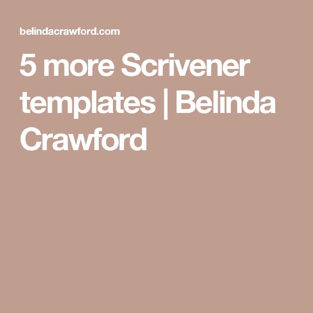 Charming 5 More Scrivener Templates | Belinda Crawford