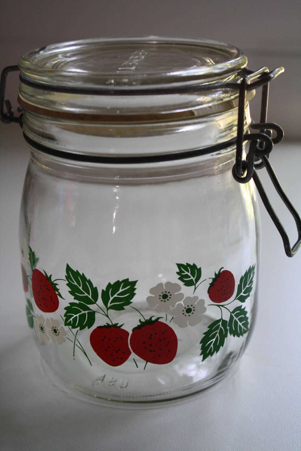 made in cold porcelain Jar decorated with Strawberry