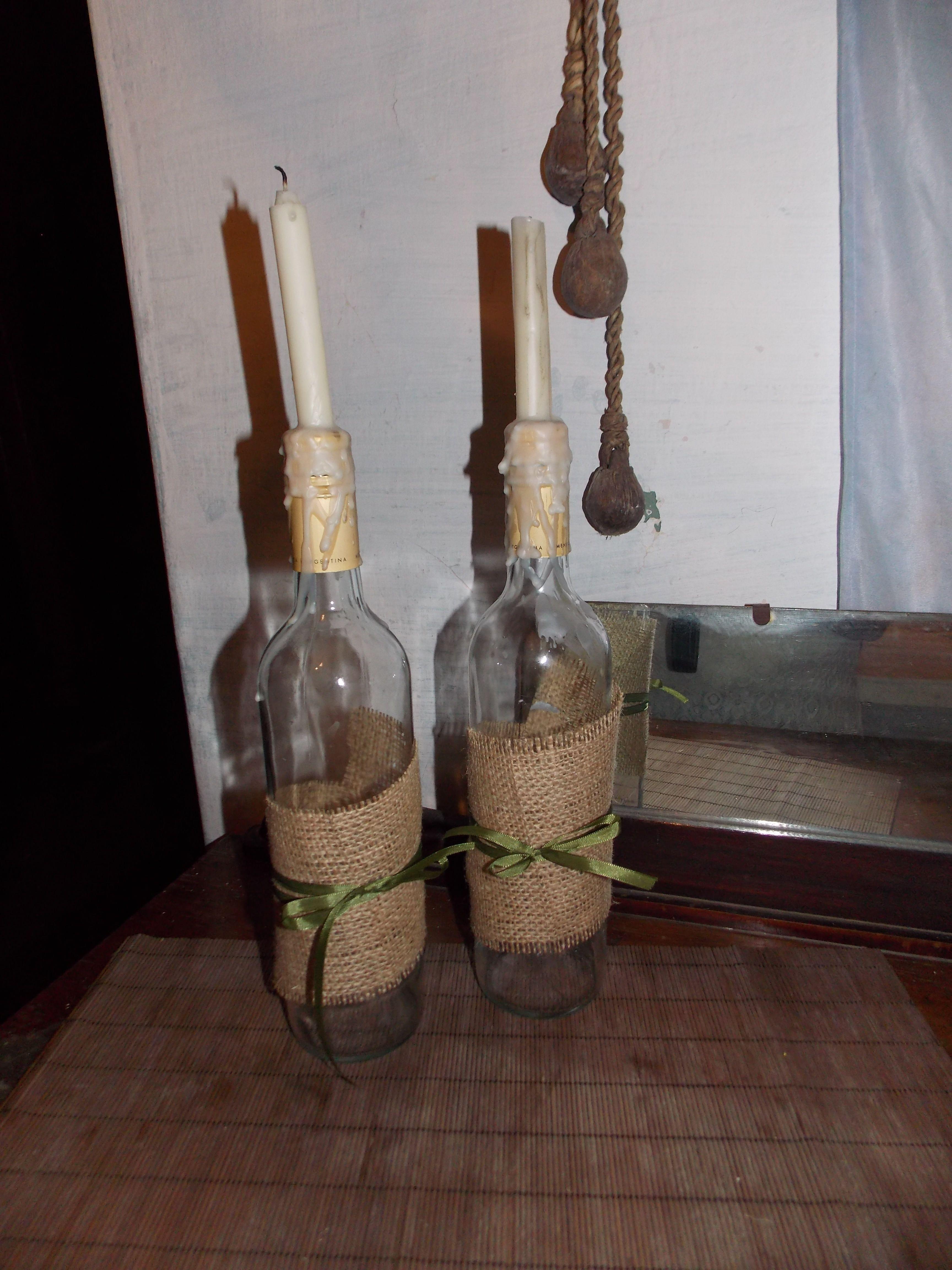 candelabros de botellas