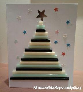 Manualidades con mis hijas: Tarjeta navideña: Pinos de navidad con Pajitas