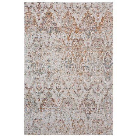 Lr Home Antiquity 5x7 Distressed Damask Southern Rust Cream