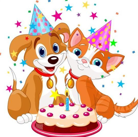 cat and dog with birthday cake vector card fronts toppers on birthday cakes for dogs in los angeles