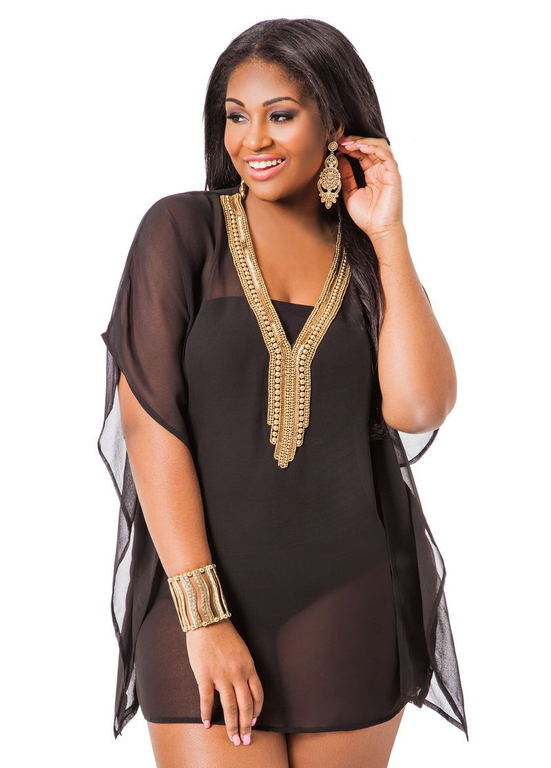 6315bf9cee209 Plus Size Swimwear, Bathing Suits and Swimsuits. Jewel Neck Cover Up - Ashley  Stewart