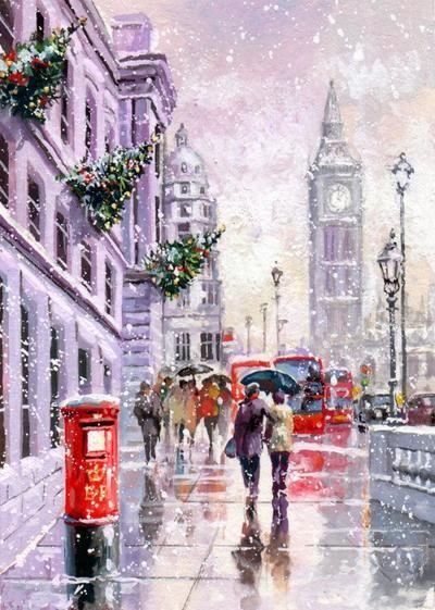 B Ben Snow London Christmas Jim Mitchell London Painting