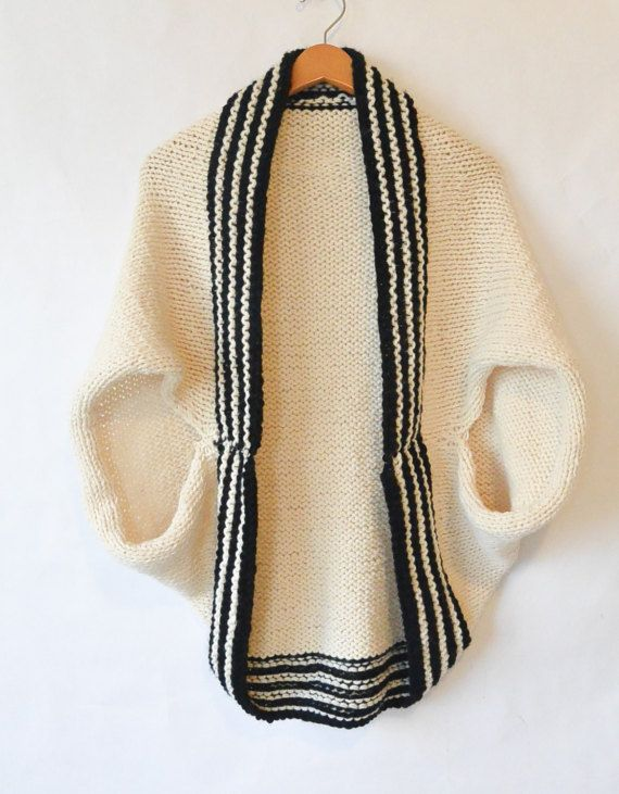 Easy Sweater Pattern, Beginner Knit Shrug Pattern, Black & White ...
