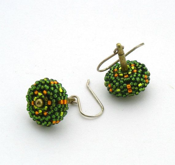 Lime Green and Orange Beaded Bead Earrings by by TheBeadedBead, #beadwork