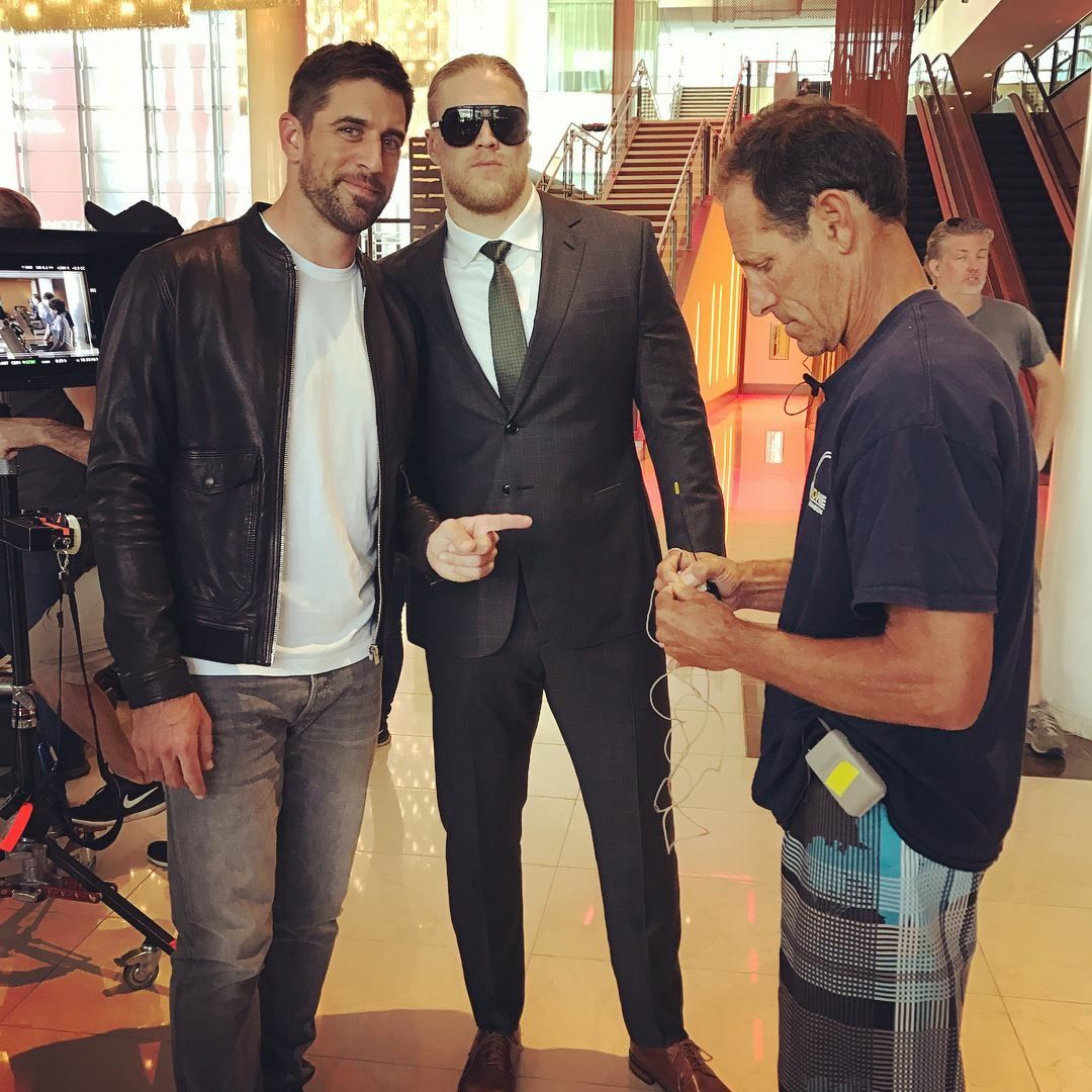 02816b62b4bcf Aaron Rodgers is wearing head to toe denim to the Packers welcome back  luncheon