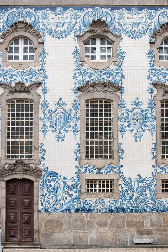 Travel Photography Blue tiles of Porto Portugal Photography | Etsy