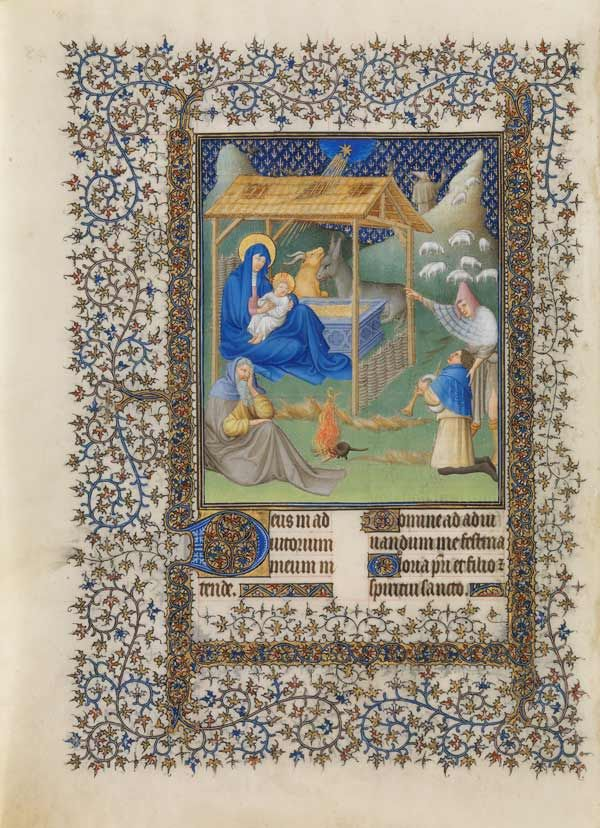 The Nativity, fol. 48v, from The Belles Heures of Jean de France, duc de Berry, illuminated by Herman, Paul, and Jean de Limbourg (1405-1408 CE)