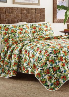 Tommy Bahama Multi Parrot Cove Twin Quilt King Quilt Cool White
