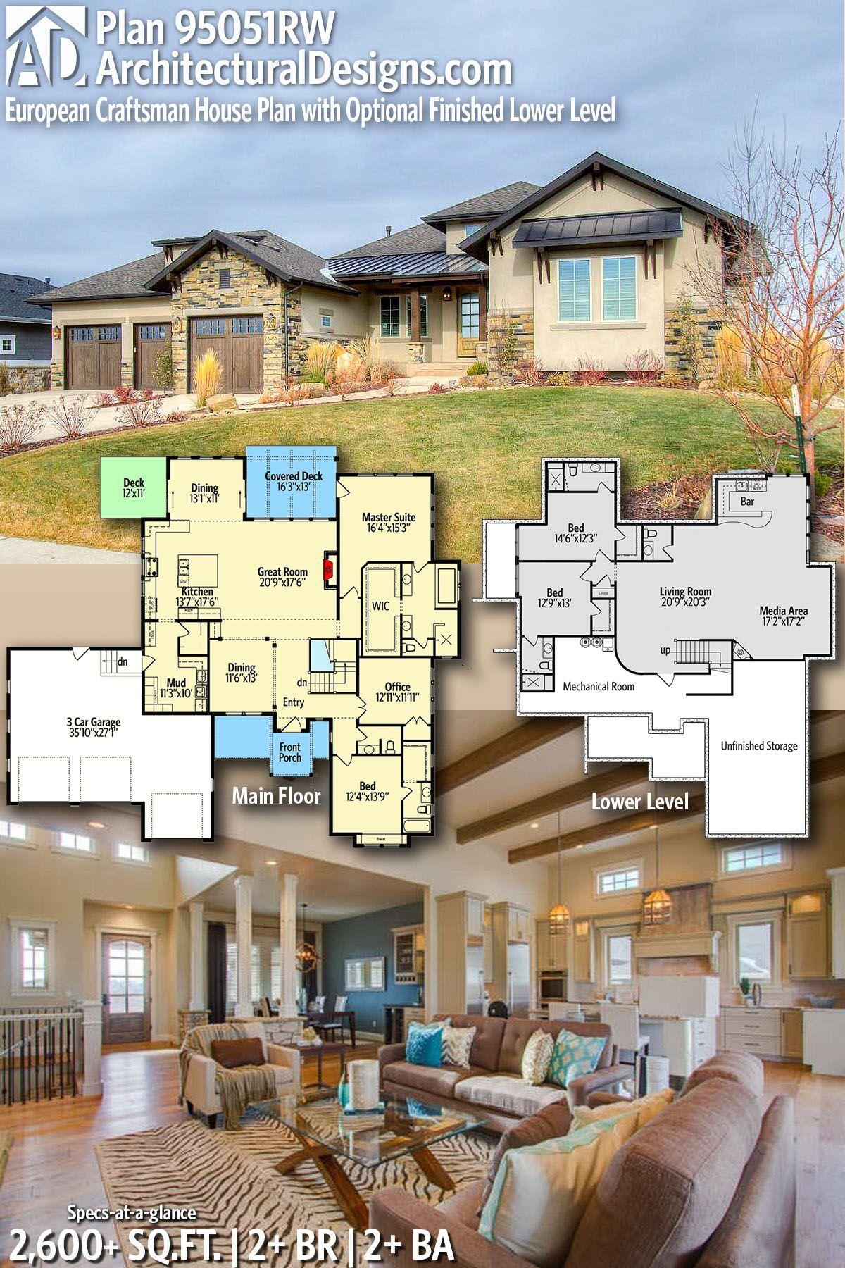 Plan 95051rw European Craftsman House With Optional