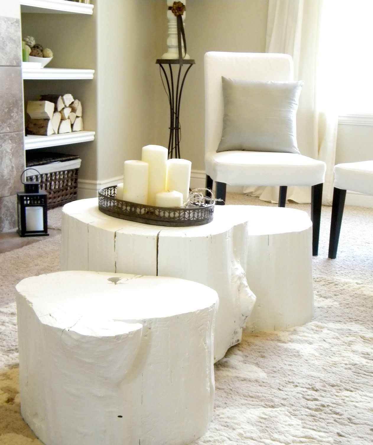 White Tree Trunk Table Base With Wicker Basket And Candles