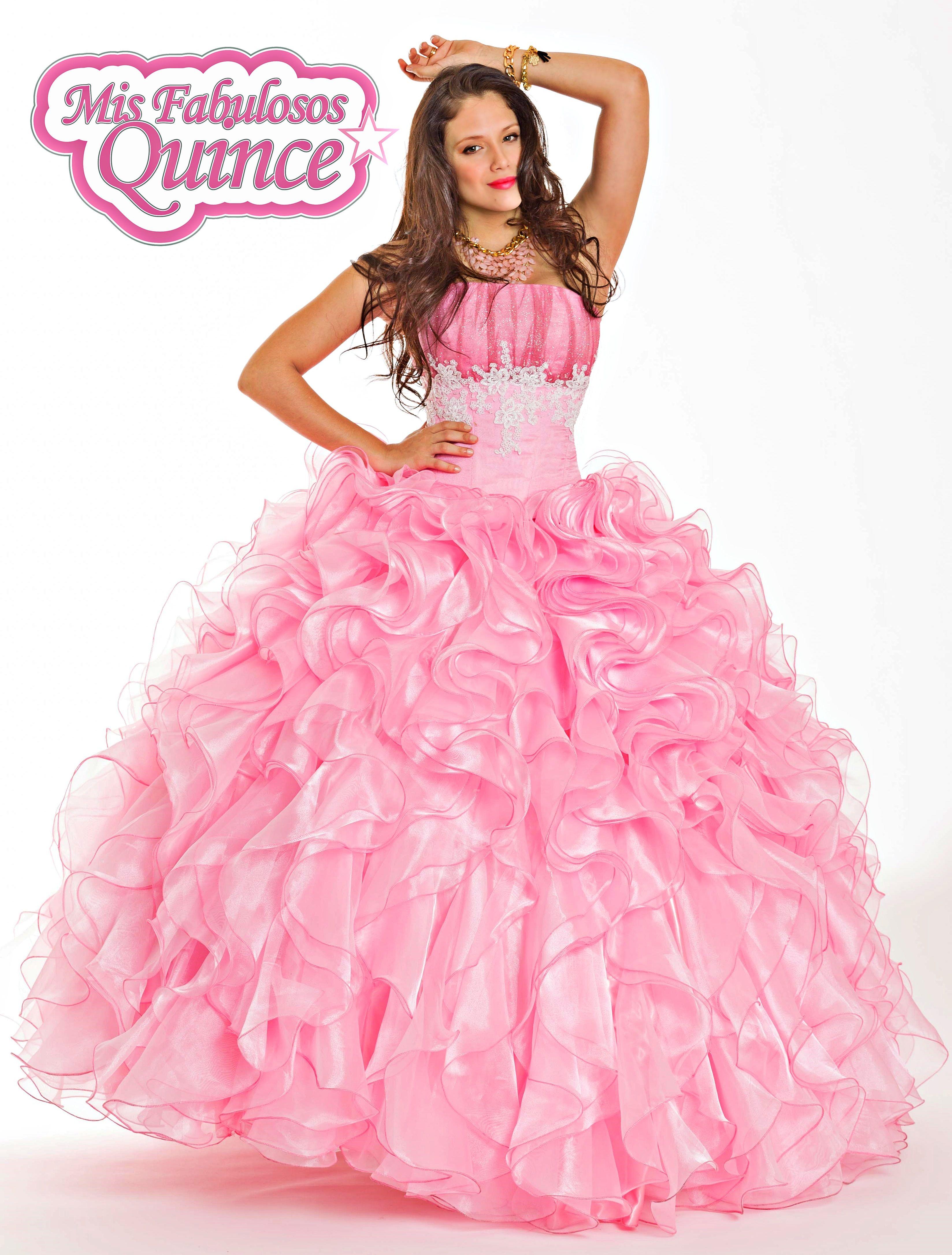 Vestido de 15 con volados caracol rosa dior - Modelo Barbie Velez ...