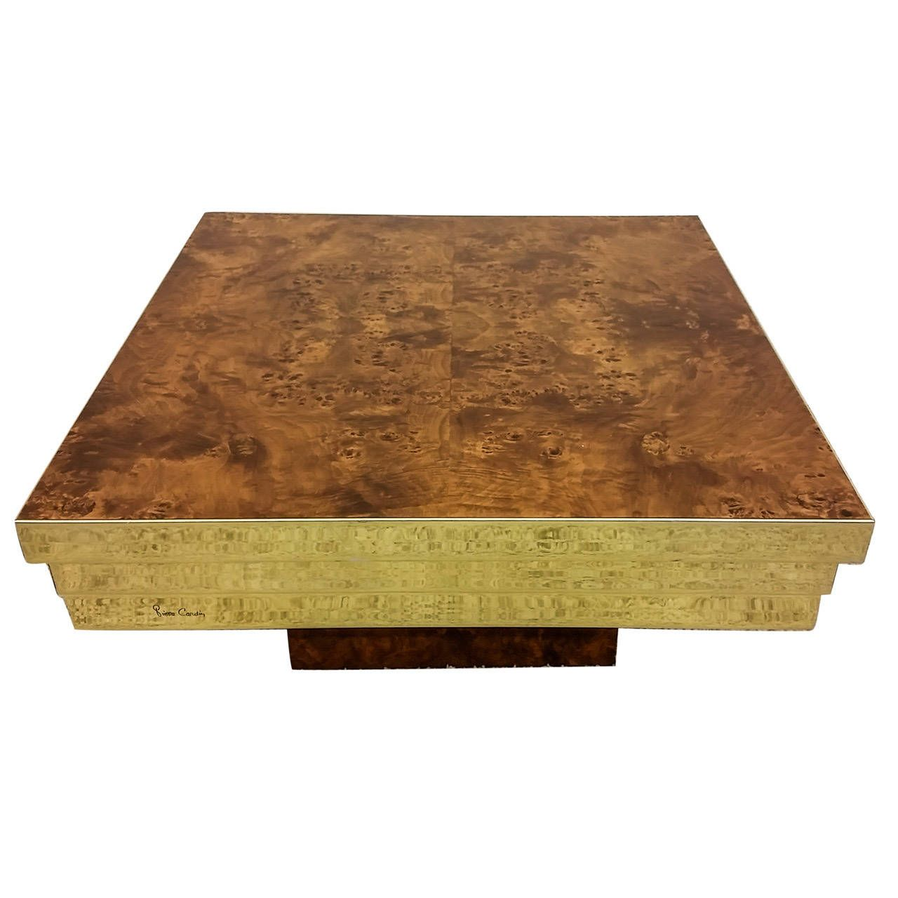 - A Stunning Pierre Cardin Brass And Burl Wood Coffee Table. The