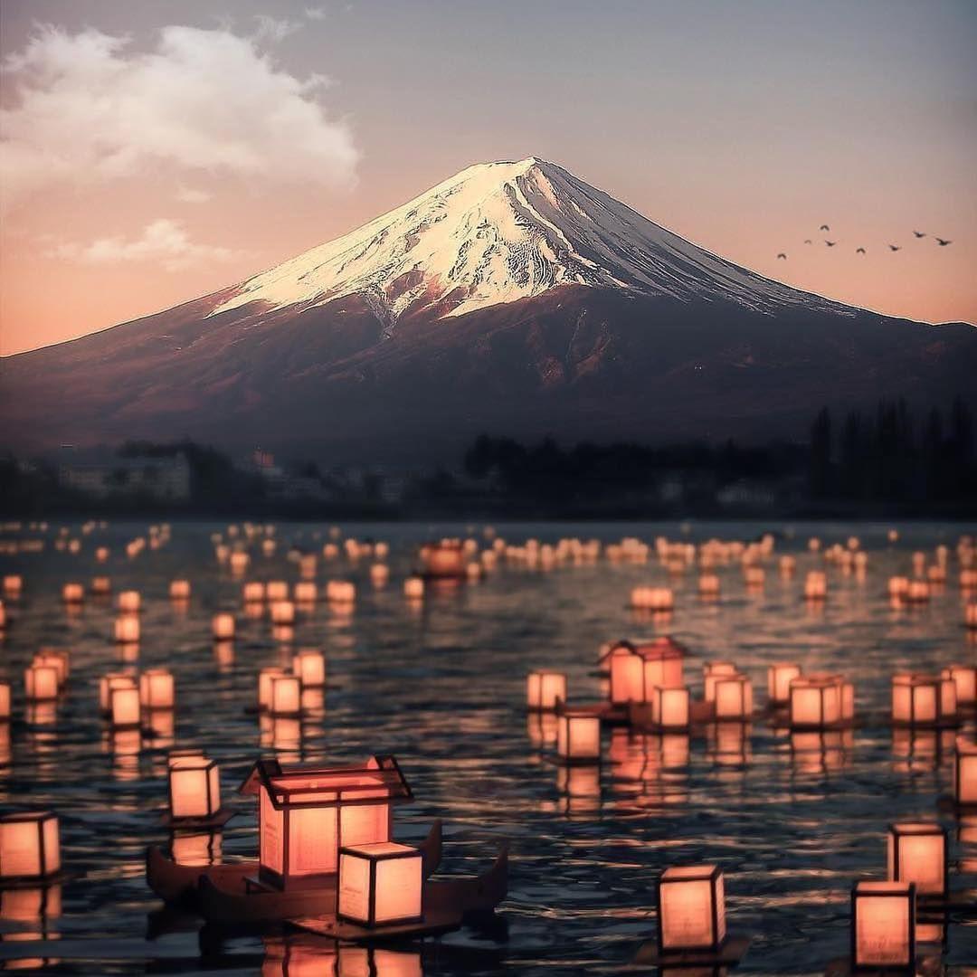 Beautiful Places In Japan Tumblr: Lantern Floating Ceremony At Lake Kawaguchiko PC