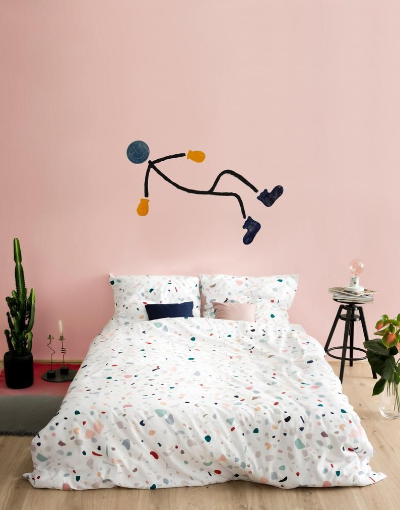 Bedroom stick figure wall art, above bed ceramic wall ...