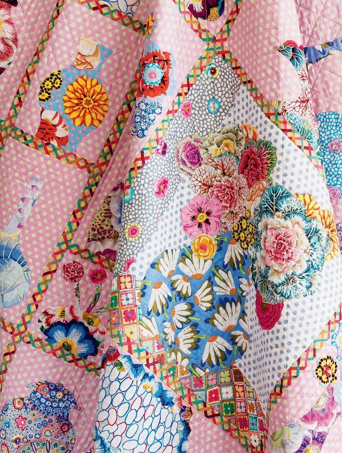 China Shop quilt by Kathy Doughty, Kaffe Fassett fabrics. Homespun Magazine. Broderie perse ...