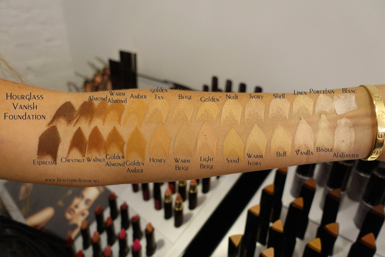 Hourglass Vanish Foundation Stick Swatches | Based off ...