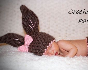 Crochet Baby Bunny Hat and Diaper Cover Pattern - Photo Prop - Instant Download - PDF File