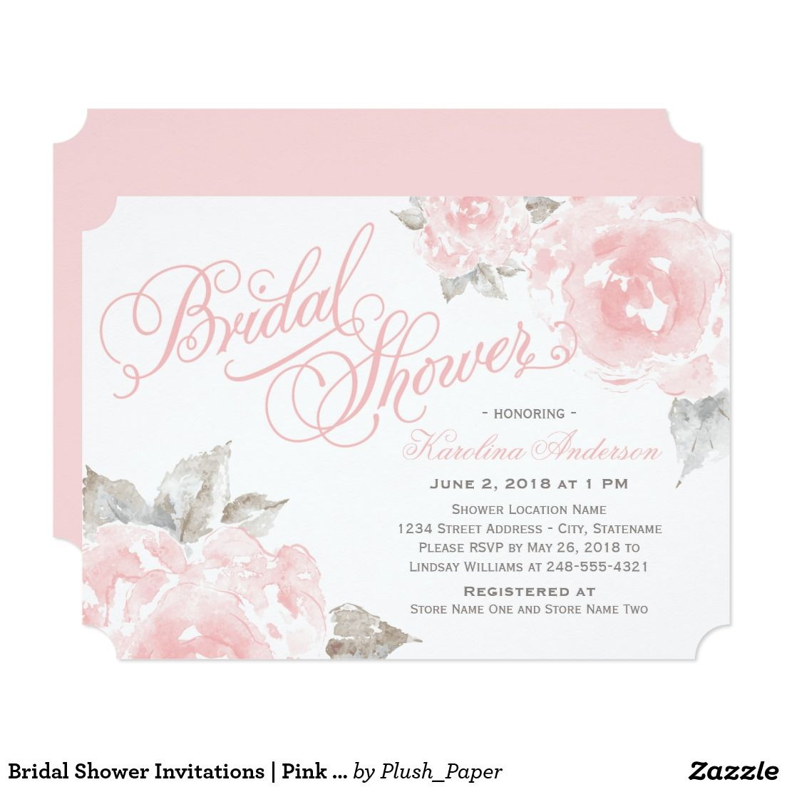 Bridal shower invitations pink watercolor roses script writing bridal shower invitations pink watercolor roses filmwisefo Choice Image