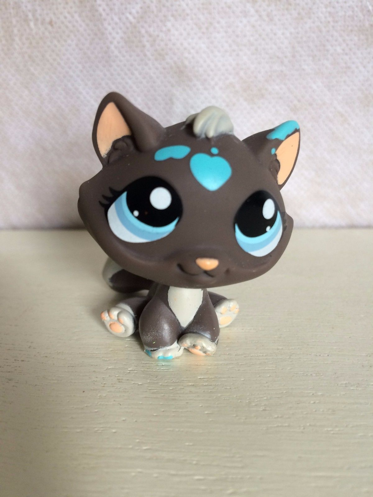 Littlest Pet Shop 815 Dark Gray Messiest Cat Blue Eyes Grey Lps 100