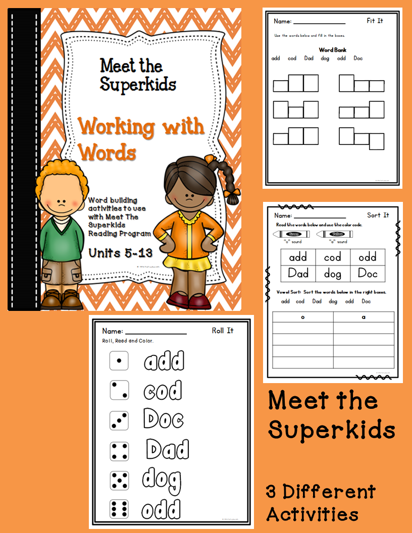 Worksheets Superkids Reading Worksheets the superkids club kindergarten literacy centers units 14 20 meet working with words practice worksheets as your students begin process of blending
