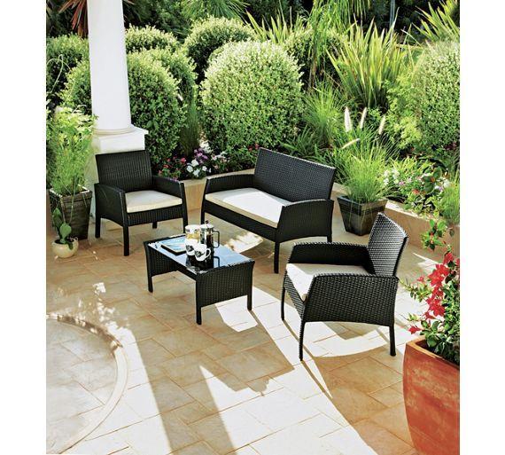 Buy Rattan Effect 4 Seater Garden Patio Furniture Set - Black at
