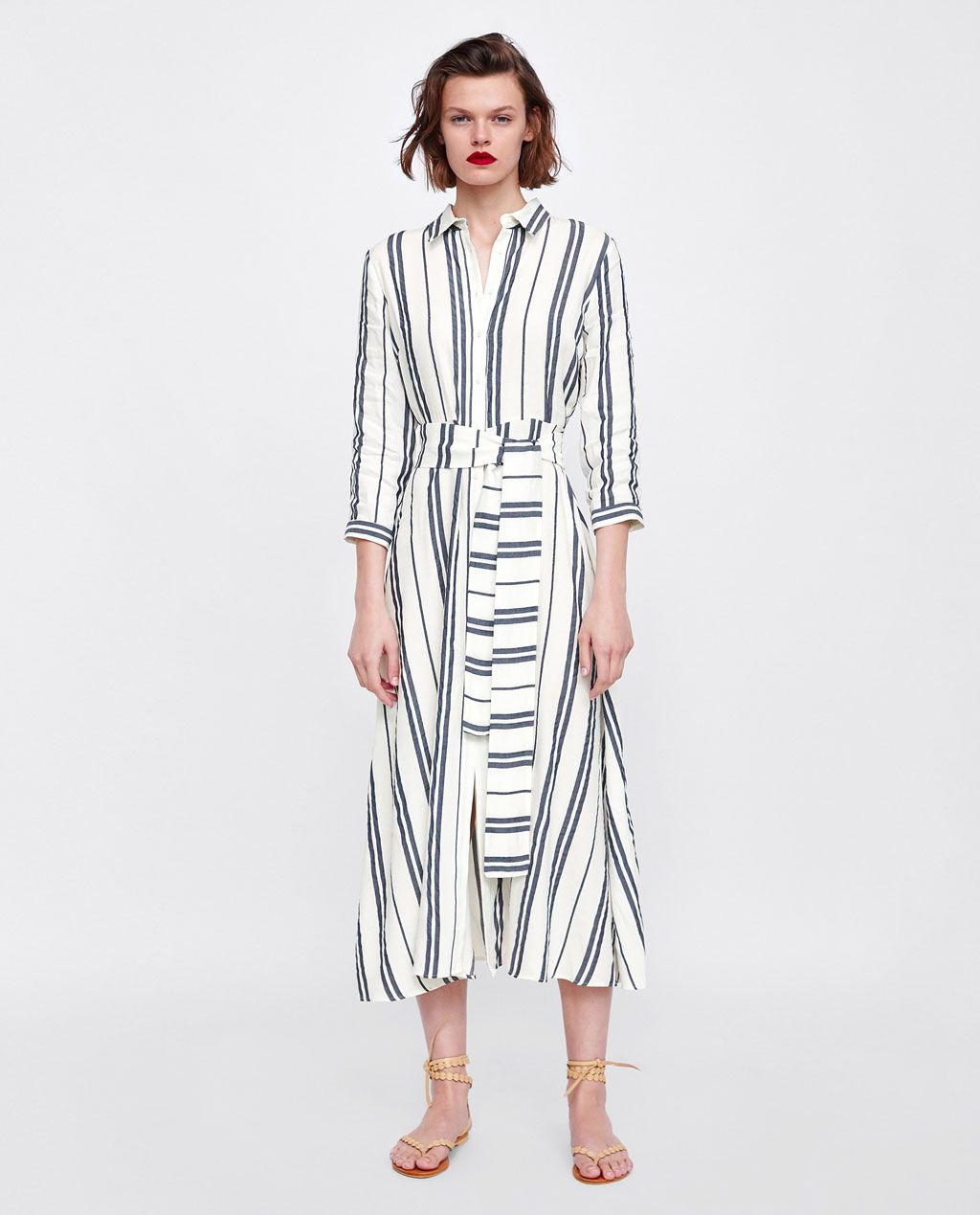1a2276ce Long striped tunic | teaching wardrobe | Striped shirt dress, Zara ...