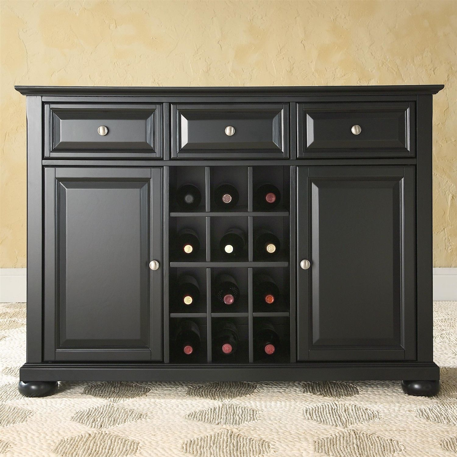 Küche Buffett Black Wood Sideboard Buffet Server Table Dining Storage Cabinet