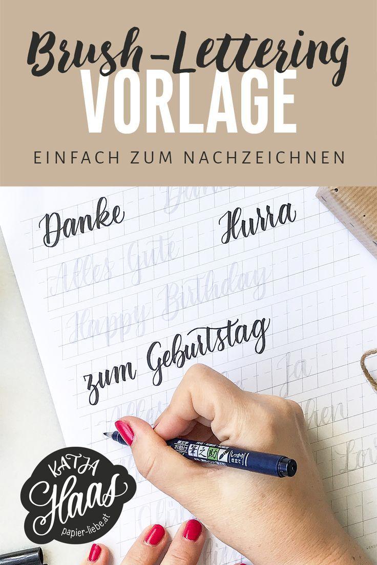 Brush-Lettering-Wörter zum Nachzeichnen bzw. Üben kostenlos downloaden. #brushlettering #lettering #handlettering #katjahaas #papierliebe #diy #brush #brushpen #vorlage #kostenlos