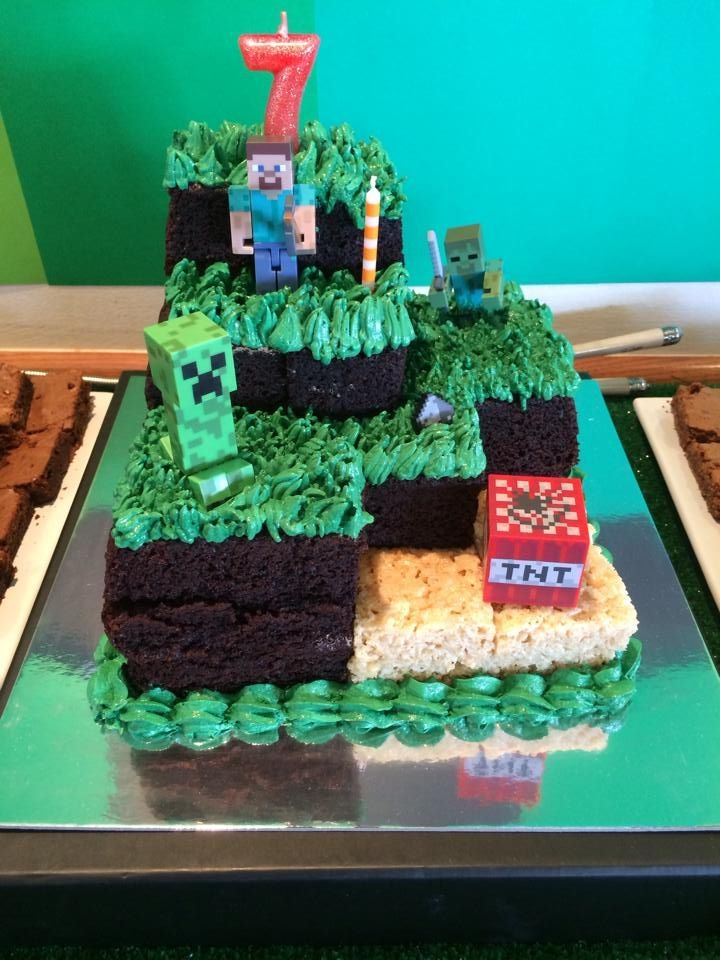 Brilliant Minecraft Cake For My Sons 7Th Birthday With Images Minecraft Personalised Birthday Cards Paralily Jamesorg