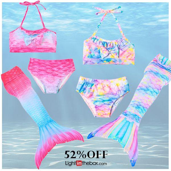 Kids Girls' Active Sports Beach Mermaid Tail The Little Mermaid Gradient Sleeveless Cotton Swimwear