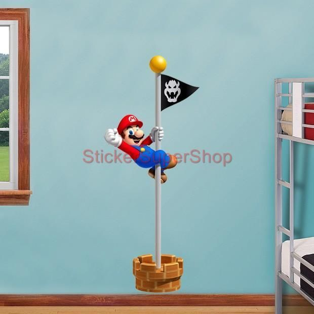 HUGE SUPER MARIO Bros FLAGPOLE WIN! Decal Removable WALL STICKER Home Decor  Art