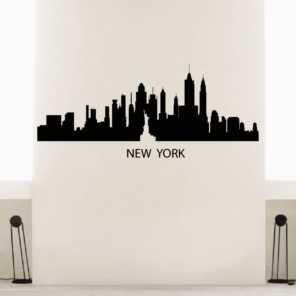 Satue Of Liberty Skyline City Silhouette Vinyl Wall Art Decal - How to make vinyl wall decals with silhouette