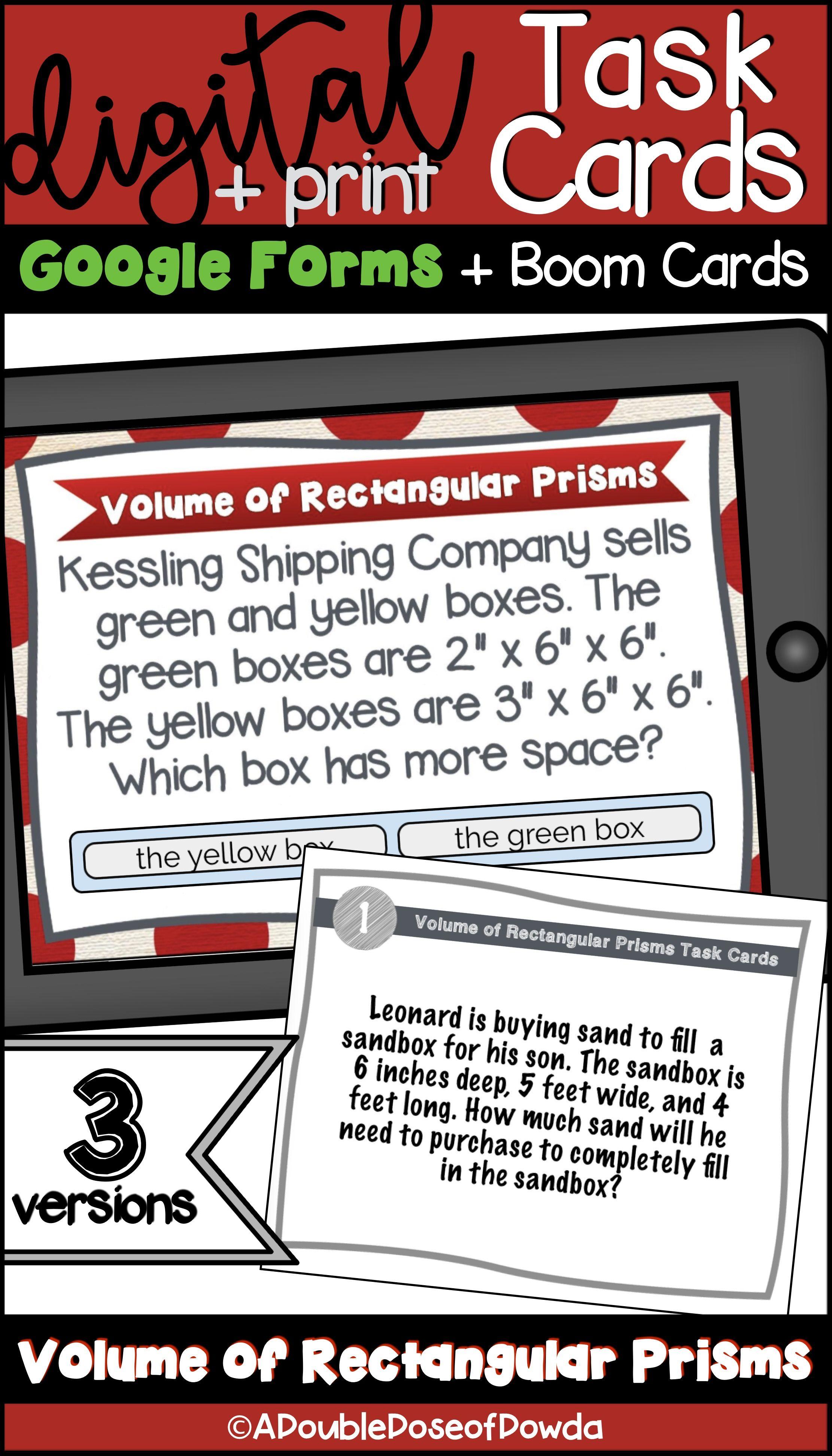 Volume Of Rectangular Prism Digital Amp Print Bundle