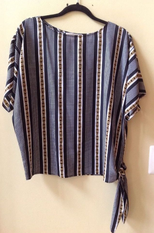 NWT MICHAEL KORS MULTI-COLOR  POLYESTER DOLMAN SHORT SLEEVE BLOUSE SZ S-69.50 #Michaelkors #Blouse
