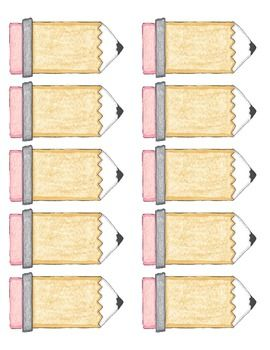 blank pencil labels template first day week of school