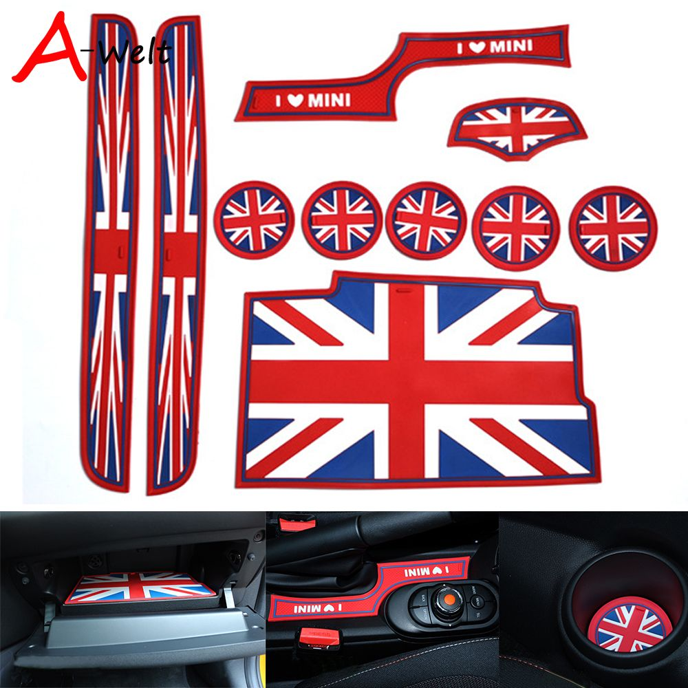 10pcs Set Silicone Red Union Jack Car Cup Gate Siliconeslot Mats For