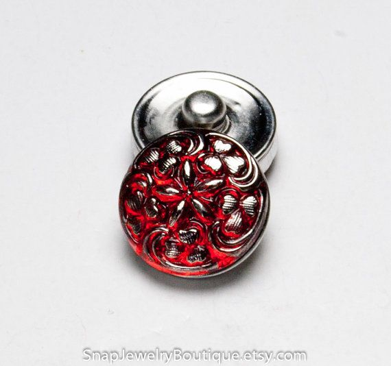 Snap button 18mm Czech glass, red, fits Ginger Snaps, Magnolia & Vine, Noosa jewelry, item E186