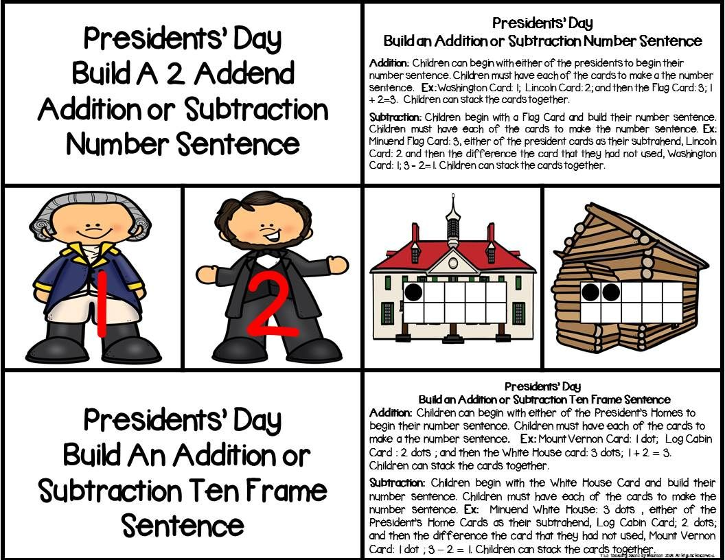 Presidents Day 2 Addend Addition Amp Subtraction With Ten