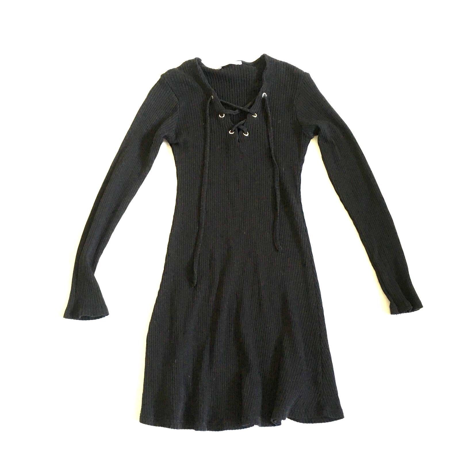 Zara trafaluc collections black ribbed v neck long sleeve dress size