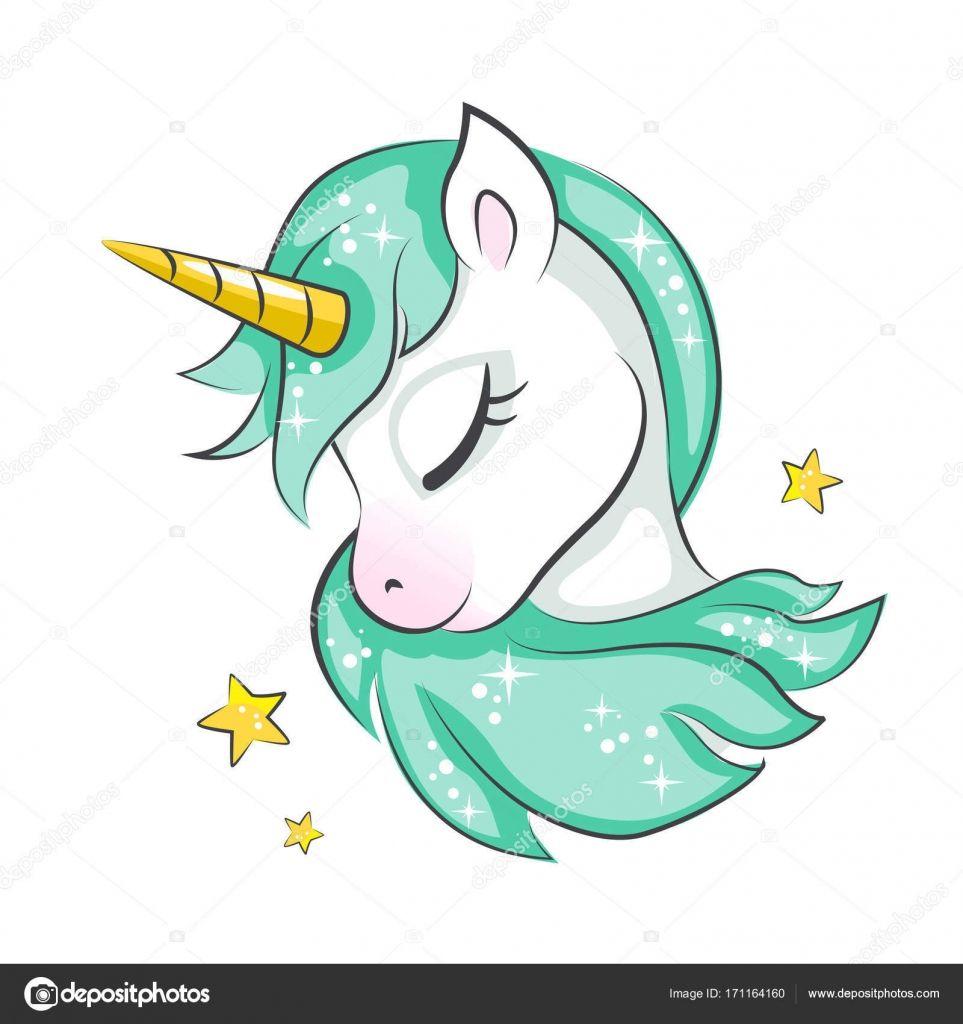 Unicorno Magico Carino Disegno Vettoriale Isolato Su Sfondo Bianco